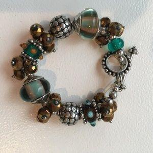 Amber Green  Bronze  Bracelet with Silver Tones